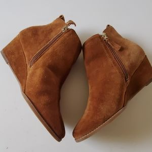 Franco Sarto suede wedge booties size 8
